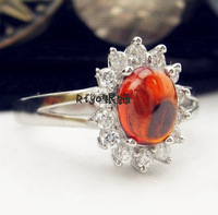 925 pure silver 2013 red crystal diamond 18k platinum ring female accessories