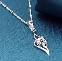 Hearts and arrows cubic zircon 925 pure silver necklace pendant female short design fashion accessories