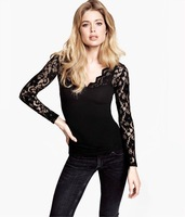 New! European Popular V Neck Lace Patchwork Sexy Lady Base Shirts Long Sleeve Woman Slim Tops 3 Colors Free CPAM 122104