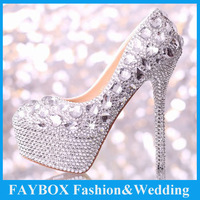 Custom hand made Elegant Women 9cm-14cm High heel Platform Crystal Pump Party evening dress Bridal Wedding shoes