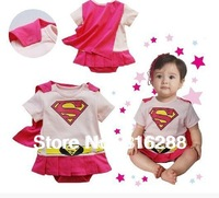 Cotton baby girl's summer rompers pink super man skirt rompers baby clothing short sleeve