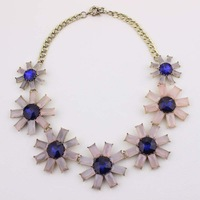 Fashion Sun Flower Design Light Pink Cubic Zircon Statement Necklace