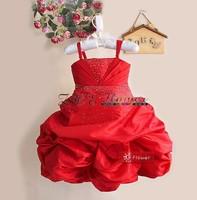 Girls Party Dress Spaghetti Strap Dress Small diamond dress tutu dress Red Gray Hot Pink 1-5year
