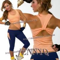 2014 JENNYQ workout clothes dance yoga sports outdoor jacket capris set girl dress fitness wear