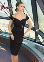 SD-020 Black Off Shoulder Sweetheart Pleated Chiffon Mother Of The Bride Dresses 2015 Free Shipping