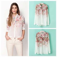 New Fashion Spring Blouses Female Turn-down Collar Watercolor Flower Print Single Breasted Loose Long-sleeve Chiffon Shirt