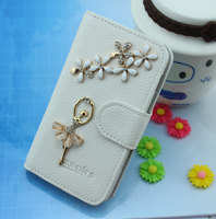 White ballet girl Rhinestone case for coolpad 8810 8190 5930 8180 Leather wallet flip cover for coolpad 8150 9150 8750 8720 7290