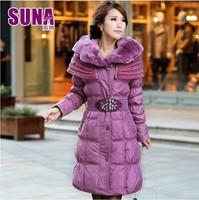 Fashion 2014 winter women's long design fur collar slim outerwear down jacket quality assurence