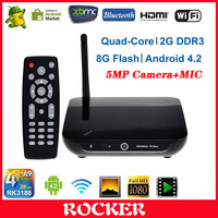 Free Shipping+2014 hot selling XBMC CR11S 2G RAM 8G Rom RK3188 Quad core 1080P Android tv box with 2MP camera+Remote Control