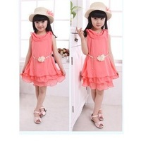 Free Shipping!!! 2014 New fashion summer kids clothing girls Chiffon dress kids wear,5sets/lot