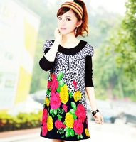 XL XXL XXXL Bust 100cm Women Autumn Print Dress One Pieces Dresses with Flowers Plus Large Size