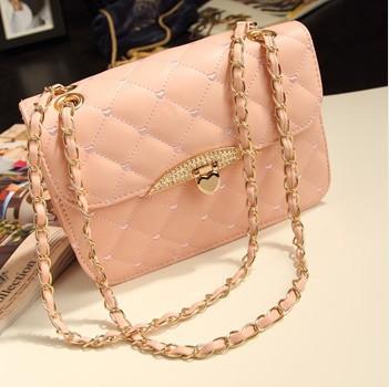 Hot sell evening bag Peach Heart bag women leather handbags Chain Shoulder Bag women messenger bag fashion(China (Mainland))