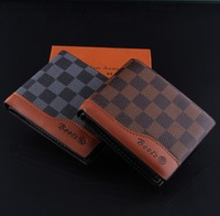 M24 FASHION high quality plaid genuine leather men's wallets , the purse as gifts for men printing wallet
