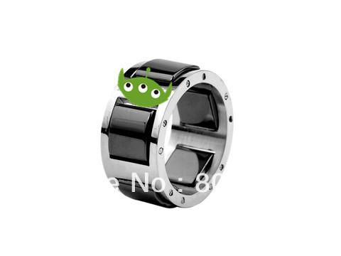 ~Free shipping~3Pcs/lot 316L Stainless Steel full black ceramic surface wedding finger ring,Christmas Gift,silver platedFN-LN010(China (Mainland))