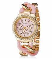 5 Colors Best Selling Geneva Brand Golden Bracelet Women Rhinestone Dress Casual Analog Gift Quartz Ladies Watch Clock Relogio