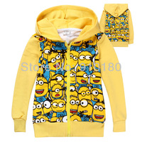 Retail Children boys girls jacket Children's cartoon Minions Hoodies/Sweatshirts spring coat Kids hoody/baby tracksuits