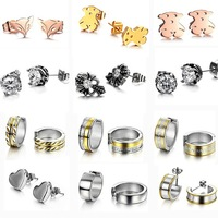 OPK JEWELRY 10pcs Mixed order! New Personality Stainless Steel Stud Earring Women Vintage Punk Cool Style
