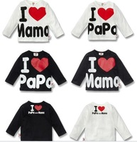 Best selling!10sets/lot 2014 New100% cotton Baby baby clothes I love mom and dad cotton long sleeve T shirt children's clothing