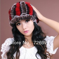 Sale New Real Knitted REX Rabbit Fur Hat Thick Wool Beanie Cap Visor Ski Headgear Ladies Baseball Hat