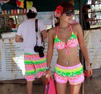 Lovers beach pants beach bikini neon letter steel hot springs bikini swimwear  biquini for women bikini 2014 new