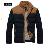 2013 Hot New winter men's cotton collar short paragraph Slim mixed colors men's thick cotton-padded jacket coat