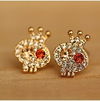 Free shipping more than $15+gift accessories jewelry delicate full rhinestone skull little princess stud earring earring fashion