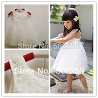 Free shipping Hot 2013 summer White Rose dress princess girls  dress tutu dress 2-6years old  NTZ0001