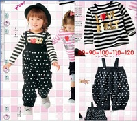 Retail,2013 girl baby clothing set,Hot fashion European style,Stripe suspender trousers+dot shirt,children outerwear