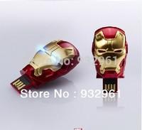 Free shipping -2013 Hot sale Fashion Avengers Iron Man 3 LED Flash 128MB only 3.99USD USB Flash Memory Drive Stick Pen/Thumb/Car