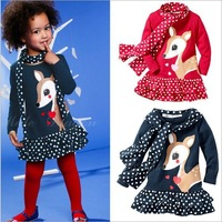 2014 new arrival,girl dress clothing set,autum-summer,cartoon deer pattern,dress+dot  scarf,children outerwear