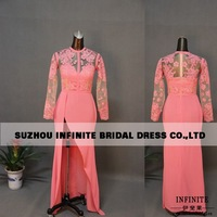 2014 new fashion 100% real sample special occasion long sleeve chiffon slit elie saab dress