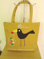 Crow personalized print nappy bag large capacity shoulder bag canvas handbag