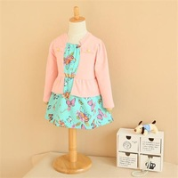 wholesale 2014 Spring floral dress girls one piece for children longsleeve butterfly dress 2colors for spring/autumn/fall
