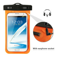 5.5 inch pvc waterproof bag with earphone socket for Samsung NOTE2 7100 and  underwater dry bag swimming accessories