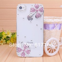 free shipping new 2014 two pink diamond four leaf  case for iPhone 4 case for iPhone 4s Mobile Border Protection phone shell