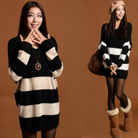 knitted sweater Wholesale women loose long black and white striped sweater coat big yards XYHX018-3 , free shipping