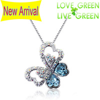 2014 new arrival Free Shipping Wholesales Valentine`s Day Gift Austrian crystal AB Color butterfly necklace jewelry Sets 84735