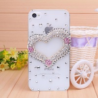 Free shipping new fashion diamond Transparent shell pink heart case for iPhone 4 case for iPhone 4s Mobile Border Protection