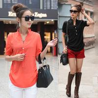 2058 3XL 4XL Plus Size 2014 New Summer Fashion Women Woman Girl's Pullover Chiffon Shirt Blouse Blusa Blusas Camisas Femininas