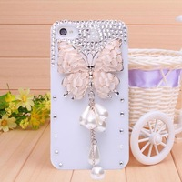 Free shipping new 2014 fashion diamond Opal butterfly Pendant case for iPhone 4 case for iPhone 4s Mobile Border Protection