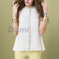 Women Tops Ladies Sleeveless Chiffon T Shirt Solid Color Summer Blouses