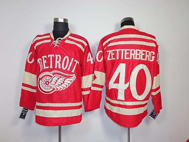 NHL Jerseys Detroit Red Wings #40 Henrik Zetterberg Red Home Ice Winter Classic Hockey Authentic Jerseys Free Shipping(China (Mainland))