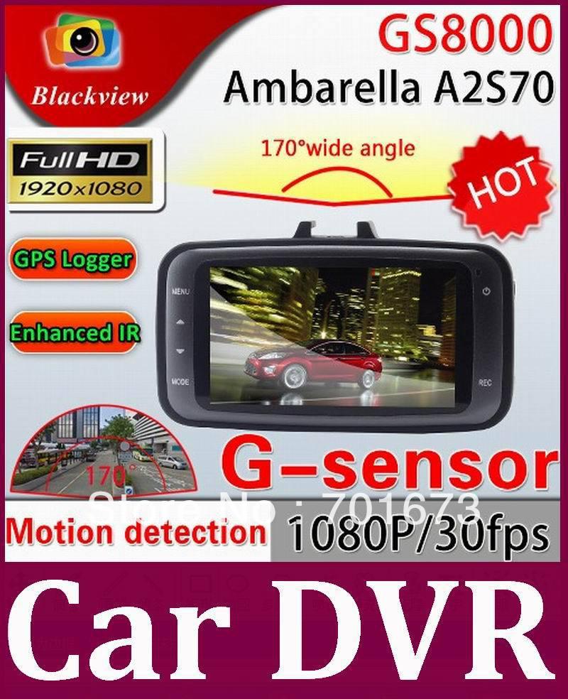 Ambarella Chip Original GS8000 CAR DVR with GPS Logger +2.7 Inch LCD+ FULLHD 1920*1080P 30FPS +G-Sensor + Night Vision 10pcs/lot(China (Mainland))