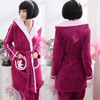 new 2014  robe thick warm winter flannel pajamas  female models tracksuit suit  pajamas for women