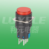 micro push button switch  (flush head)  DPDT  16mm  alternate  round