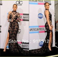 Jennifer Lopez Sheath High Collar One Long Sleeve Black Lace High Slit Zuhair Murad Evening Dresses