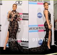 Jennifer Lopez Sheath High Collar One Long Sleeve Black Lace High Slit Zuhair Murad Evening Dresses