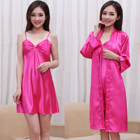 Summer sexy women's spaghetti strap nightgown sleepwear female silk robe twinset short-sleeve lounge set