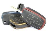 Volkswagen Golf Polo Tiguan Passat B6 Santana CC Jetta Genuine Leather Key remote control Bag Key bag Car key protective holster