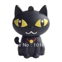 New U disk 4GB 16GB 32GB 64GB Cartoon Black Night Cat USB 2.0 Flash Memory Pen Drive Stick Drives Sticks Pendrives free shipping
